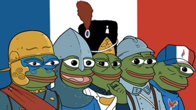 """Une des variantes du mème """"Pepe the Frog"""" appliqué à la France"""