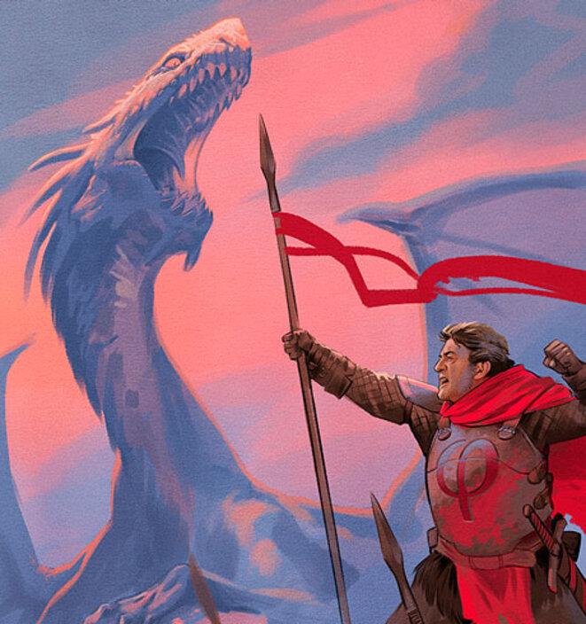 Mélenchon pourfendant le dragon in « L'avenir en commun ? » par Malka, Reno, d'après un script de Méla Ka, Reno Pixellu et Olivier Tonneau. © Malka & Reno