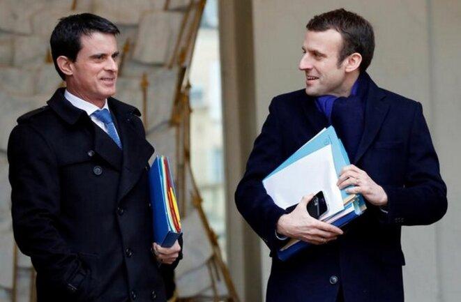 Manuel Valls et Emmanuel Macron à l'Élysée, en mars 2016 © Reuters