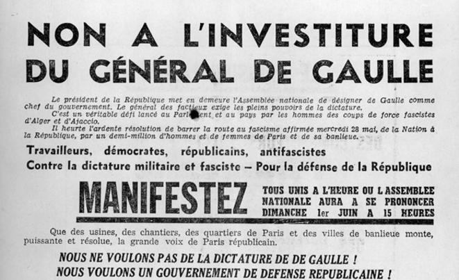 Tract du parti communiste français le 1er juin 1958
