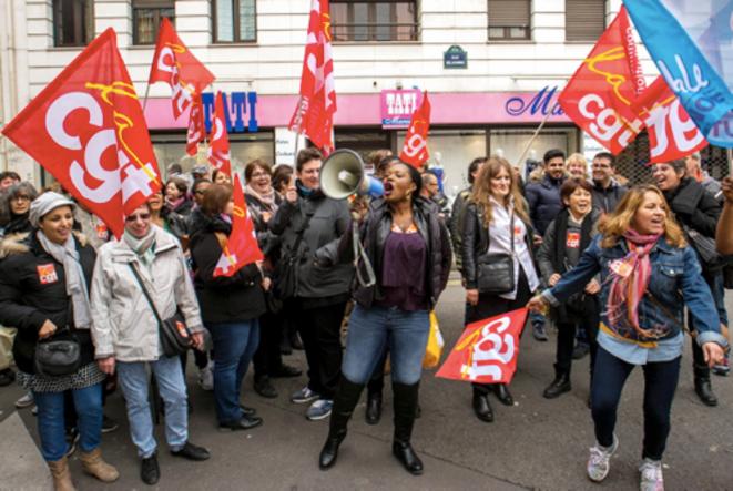 Mobilisation des salariés de Tati après le placement de l'enseigne en redressement judiciaire le 4 mai 2017. © NVO