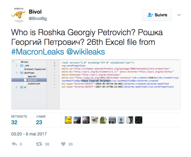 The first Tweet from the Bulgarian investigative website Vibol about the mysterious Georgy Petrovitch Roshka whose name was linked with the Macron Leaks emails.