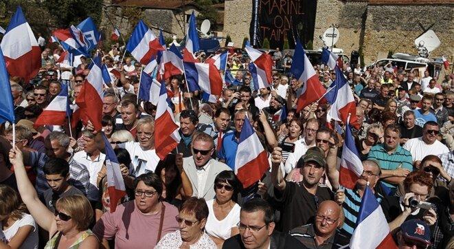 Foule venue écouter Marine Le Pen en 2014 dans la Haute-Marne (Reuters)