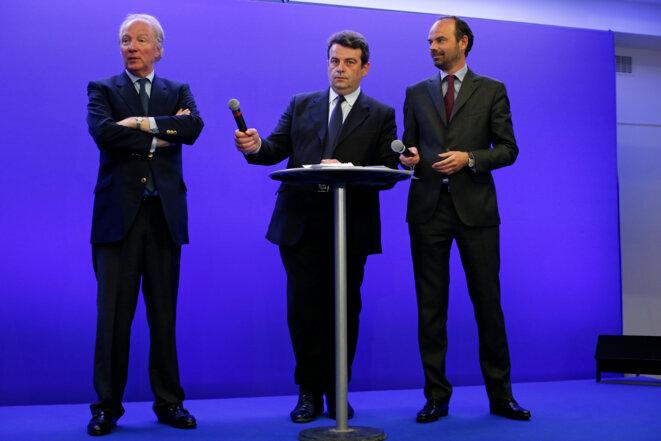 Brice Hortefeux, Thierry Solère et Édouard Philippe, en avril 2015. © Reuters