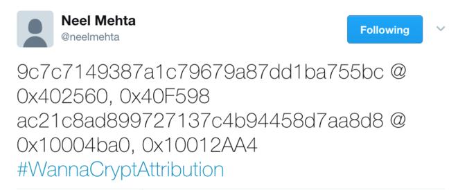 Elements d'attribution du ransomware WannaCrypt © Neel Mehta