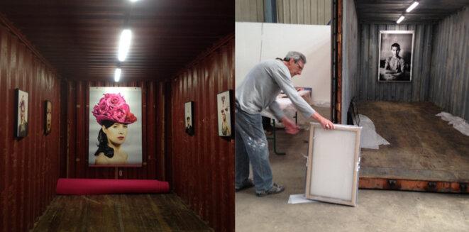 Installation des contenaires dans la friche industrielle