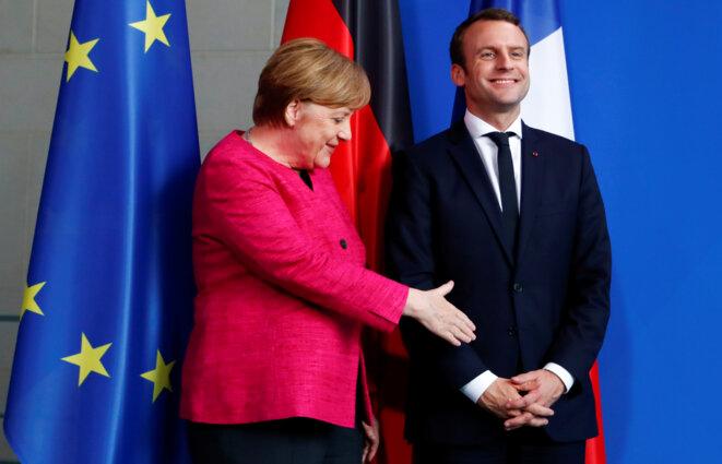 Angela Merkel et Emmanuel Macron lundi 15 mai à Berlin © Fabrizio Bensch / Reuters.