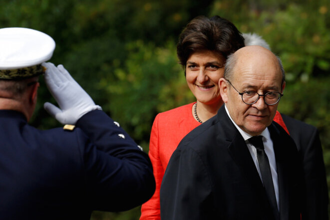 Centrist Sylvie Goulard, the new French defence minister, with socialist Jean-Yves Le Drian, appointed as foreign affairs minister.