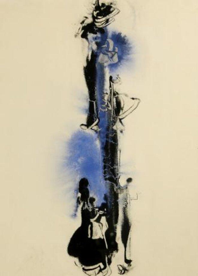 Evguéni Mikhnov-Voïtenko, Abstraction en bleu et noir © Mikhnov