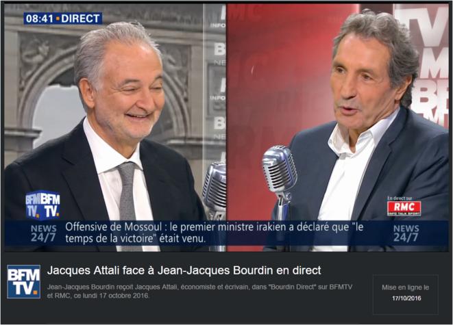 """Jean-Jacques Bourdin reçoit Jacques Attali, économiste et écrivain, dans """"Bourdin Direct"""" sur BFMTV et RMC, ce lundi 17 octobre 2016. © RMC, Bourdin, B FMTV"""