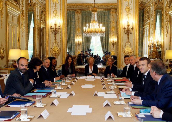 Le premier conseil des ministres, le 18 mai 2017, du gouvernement Philippe. © Reuters