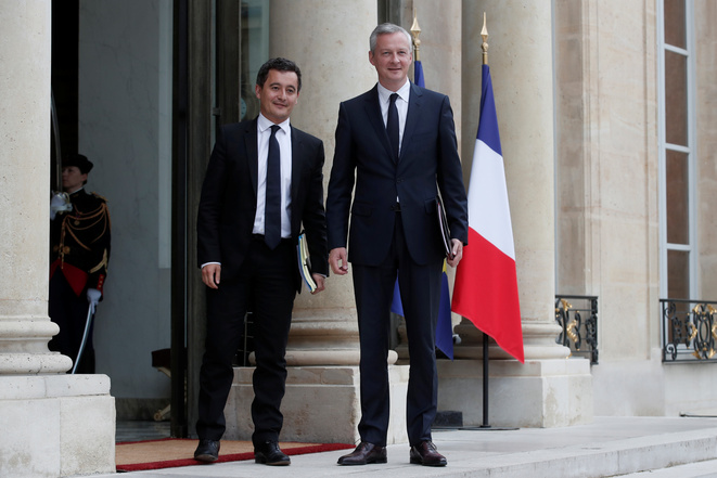 Gérald Darmanin et Bruno Le Maire lors du premier conseil des minsitres le 18 mai © Reuters