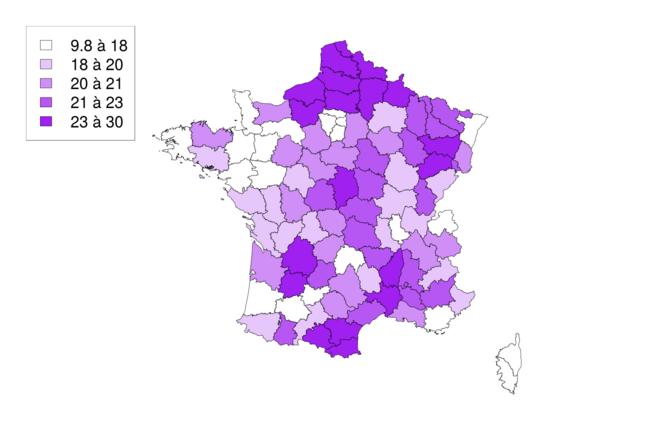Euroscepticisme (pourcentage d'inscrits ayant voté Mélenchon ou Le Pen en 2017, et non en 2005)