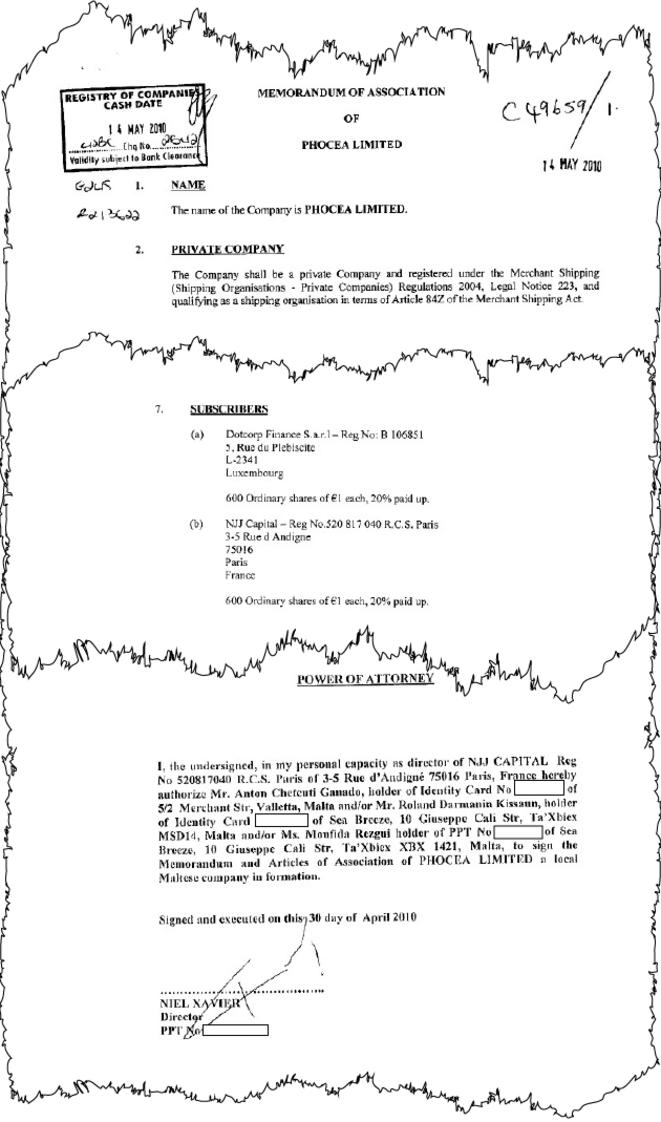 Le document d'immatriculation de la société maltaise Phocea Limited, signé par Xavier Niel, qui en est l'actionnaire à 50 %. © Mediapart