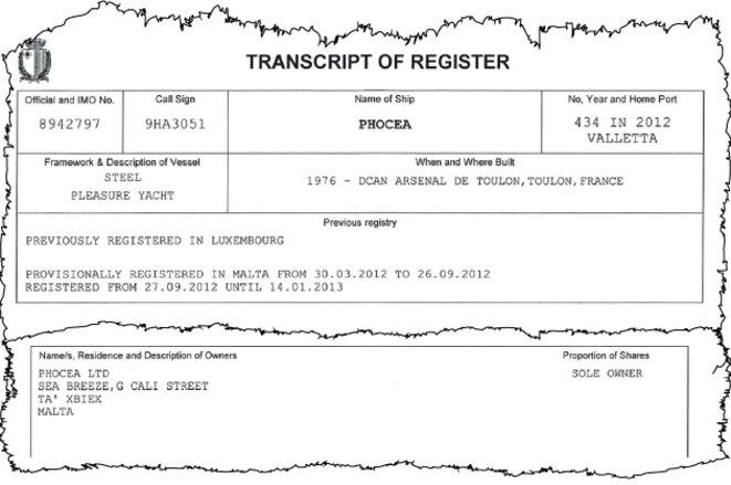 La fiche du « Phocéa » au registre maritime de Malte. Ce document confirme que le « seul propriétaire » du navire est bien la société maltaise Phocea Limited. © Mediapart