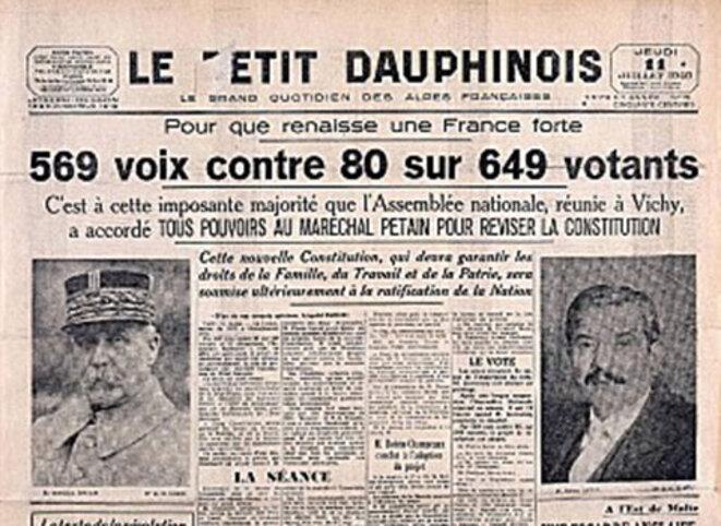 Article d'un journal commentant le refus des 80 parlementaires qui refusèrent d'accorder les pleins pouvoirs au Maréchal Pétain © Comité en l'honneur des 80 parlementaires