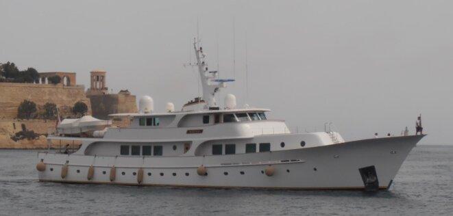 """Le yacht """"Kriss"""" de Christian Latouche, patron et propriétaire de Fiducial. © D.R."""