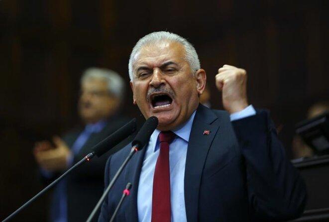 Le premier ministre turc Binali Yildirim lors d'un discours à l'Assemblée nationale à Ankara. © Reuters