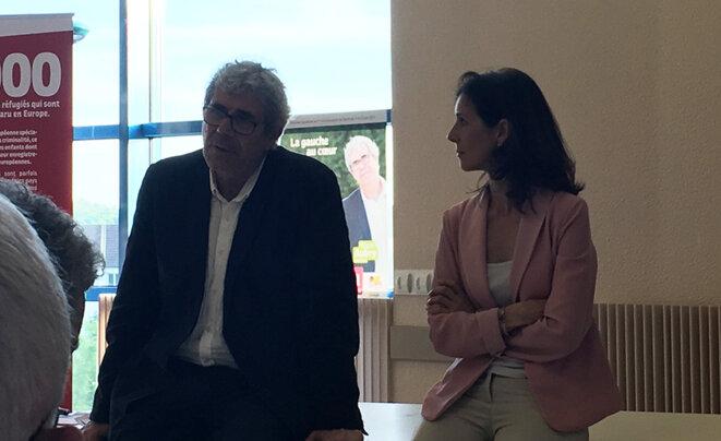 Barbara Romagnan et son suppléant Régis Aubry à École-Valentin © CG