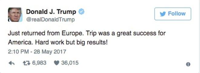 «Juste de retour d'Europe. Ce voyage a été un grand succès pour l'Amérique. Dur labeur mais grands résultats»