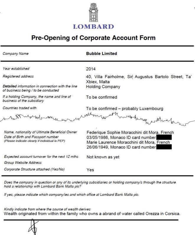 """Le formulaire d'ouverture de compte bancaire de Bubble Limited prouve que Marie-Laurence Moracchini et sa fille sont bien les """"ultimate beneficial owners"""", c'est à dire les propriétaires, de cette société maltaise. © EIC"""