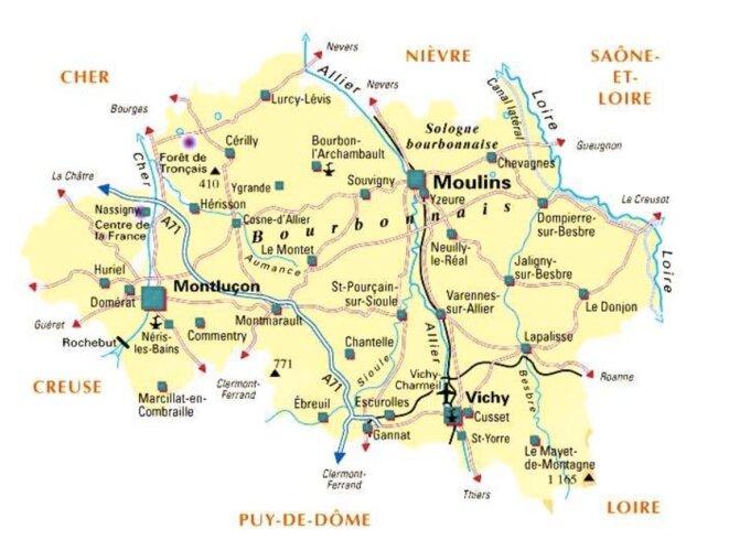 Carte de l'Allier. © 1France