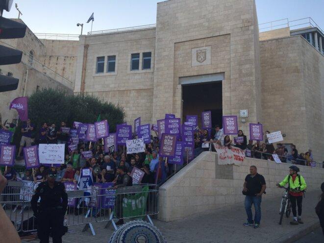 Contre-manifestation d'opposants à la célébration du cinquantenaire de la conquête de la vieille ville de Jérusalem, le 24 mai 2017 © Carol Mann