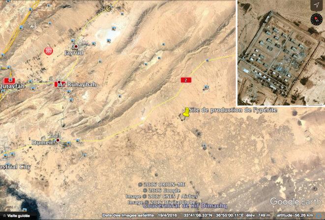 Ci-dessus et ci-dessous, deux sites de production de l'Ypérite. En vignette, gros plan sur le site partiellement détruit. © DR