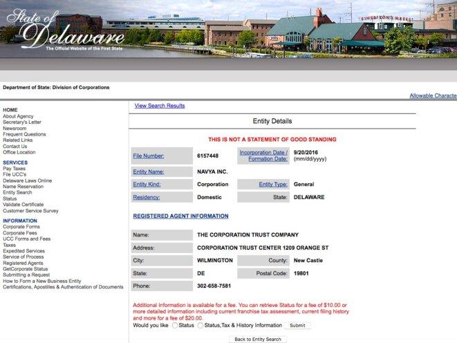« Navya Inc. » a été déposée au Delaware par une société dont Bonnell préside le conseil de surveillance © DR