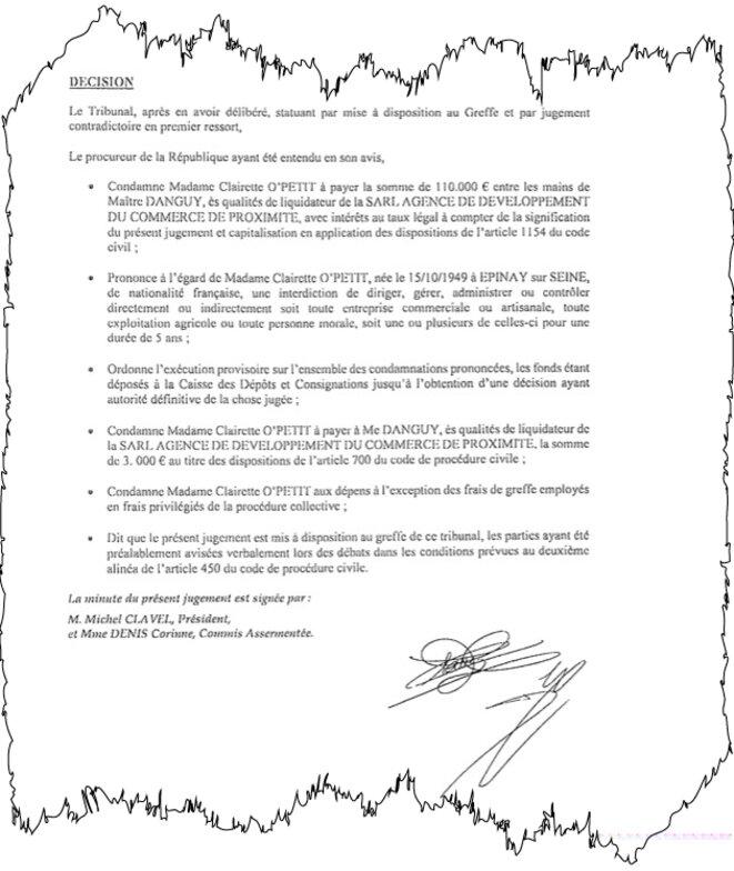 Le jugement du tribunal de commerce de Bobigny, novembre 2016