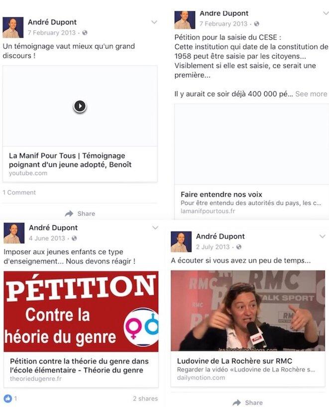 Certains des posts effacés par André Dupont de son compte Facebook © DR