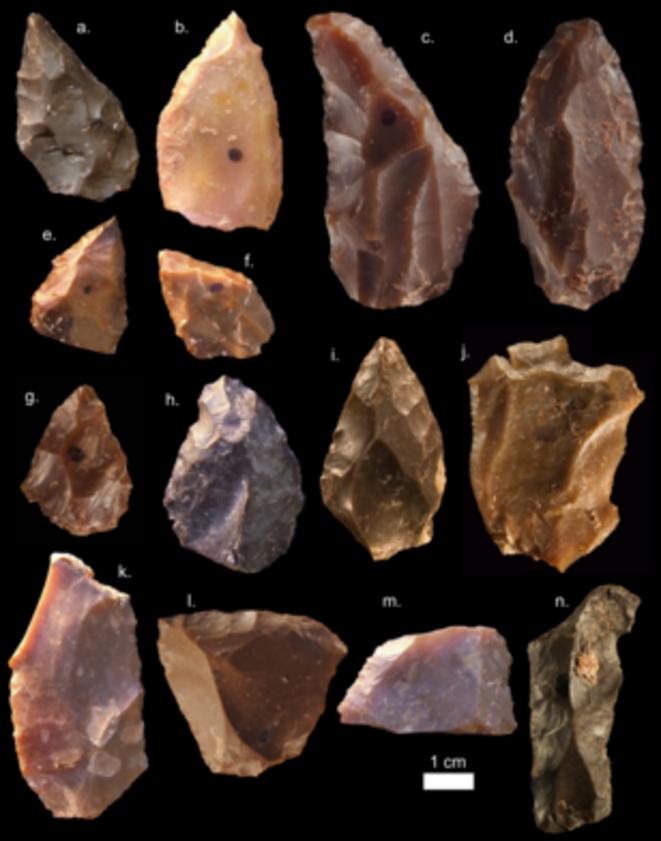 Outils de l'âge de pierre moyen, représentatifs de la technologie levalloisienne, retrouvés sur le site de Jebel Irhoud (Maroc). © Mohammed Kamal, MPI EVA Leipzig