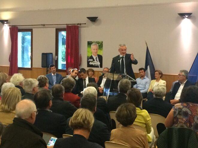 Meeting de Bruno Le Maire à Angerville-la-Campagne, le 6 juin, en présence de Sébastien Lecornu et Gérald Darmanin (à gauche). © ES