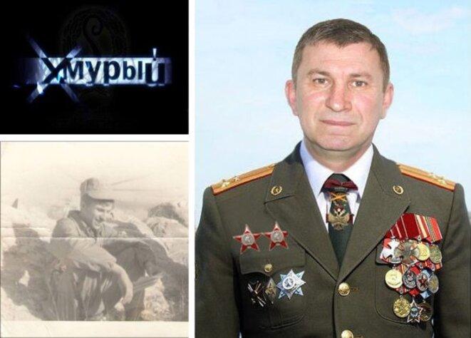 En haut à gauche, l'avatar de « Khmury » sur le forum Antikvariat. En bas, photographie de Sergey Dubinsky en Afghanistan tirée de son profil sur le média social 'Moi Mir' (Mon Monde). A droite, photographie de Sergey Dubinsky en uniforme de colonel, téléchargée en 2011. Source : Bellingcat.