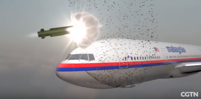 Reconstitution abattament MH17. Capture d'écran Youtube/CGTN