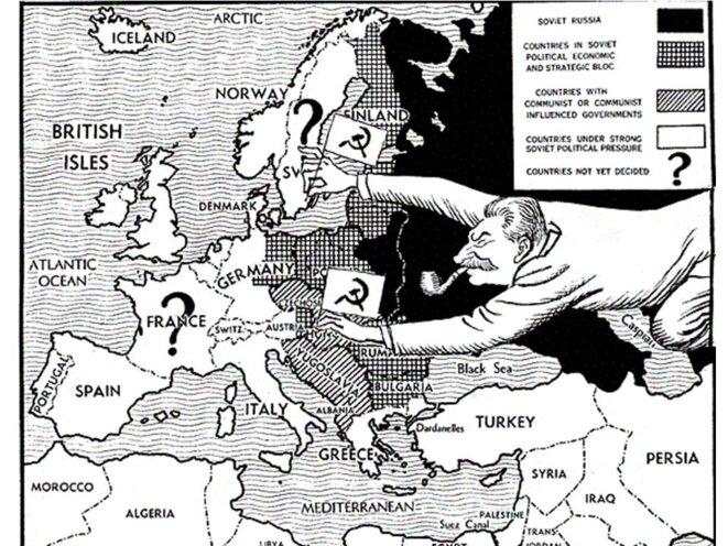 Cette vieille image illustre la prise de contrôle d'une partie de l'Europe par les Soviétiques à la suite de la Conférence de Yalta en février 1945.