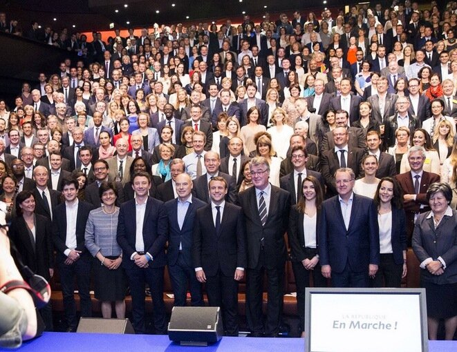 Emmanuel Macron surrounded by his party's candidates, Paris May 13th. © AudreyDufeuSchubert via Twitter