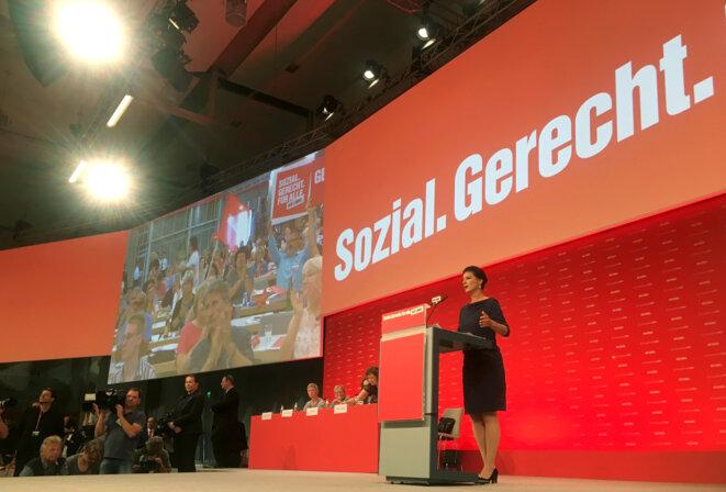 Sarah Wagenknecht, dimanche 11 juin 2017, au congrès de Die Linke. © Reuters