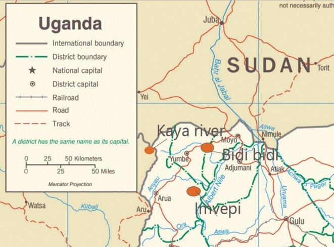 L'emplacement des camps dans le nord de l'Ouganda