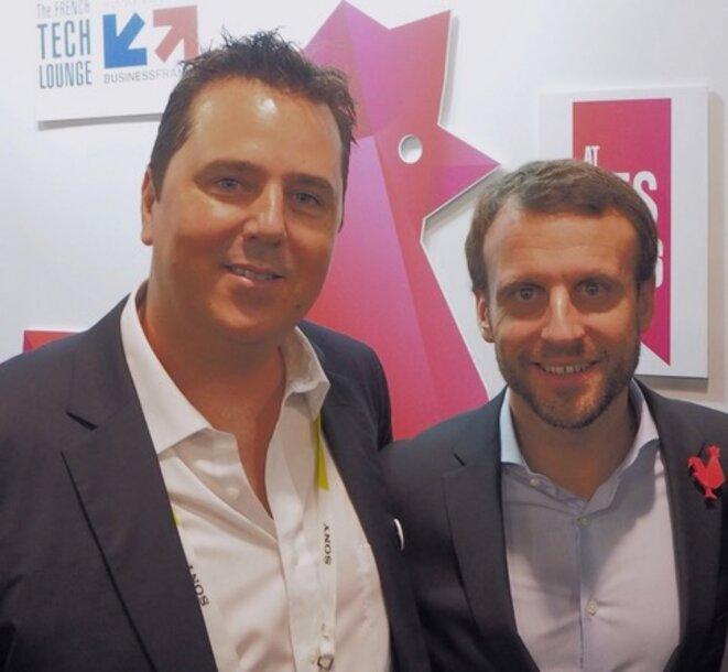 Alexandre Zapolsky et Emmanuel Macron à Las Vegas, en janvier 2016 © DR