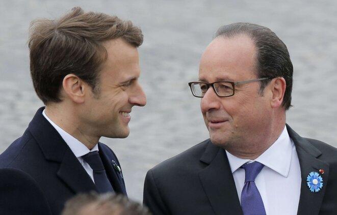 Emmanuel Macron et François Hollande, le 8 mai 2017 à Paris © Michel Euler/AP/SIPA