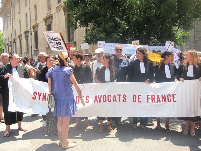 Une dizaine d'avocates du Syndicat des avocats de France ont assisté à l'audience en soutien au prévenu © LF