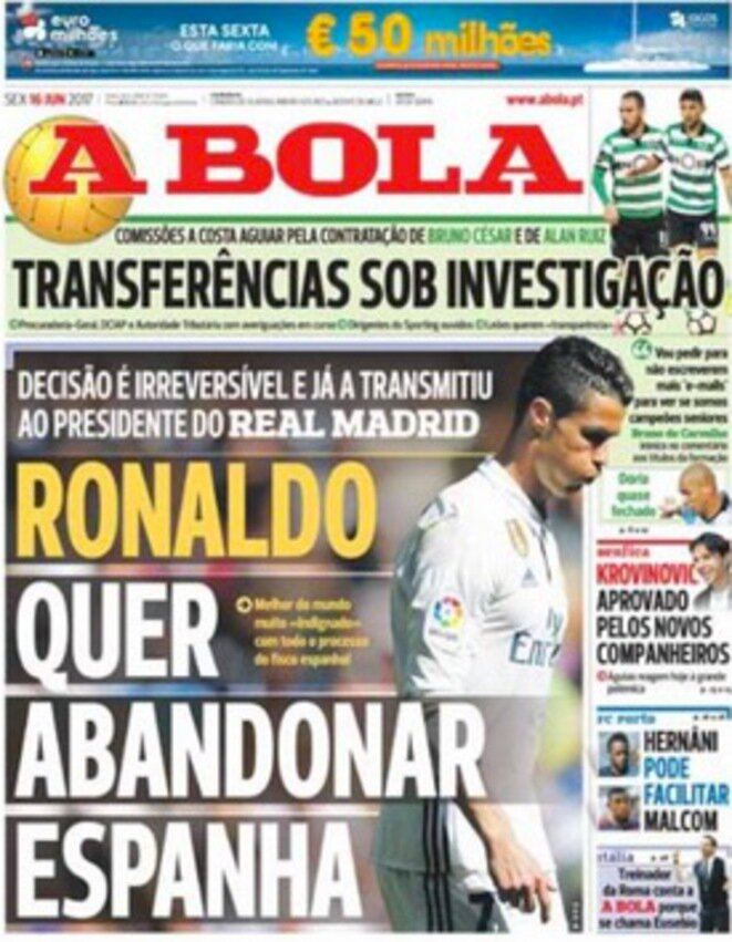 According to the daily A Bola, Ronaldo is so angry over the tax allegations that he is considering leaving Spain. © A Bola