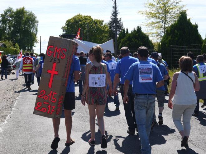 Pendant la manifestation de soutien à GM&S, La Souterraine, 16 mai 2017. © D.I.