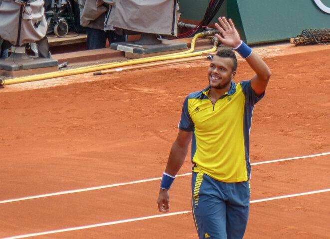 Jo-Wilfried Tsonga à Roland-Garros en 2013 © Yann Caradec / Creative Commons