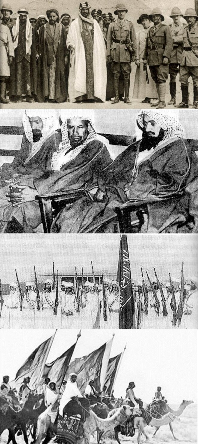 De haut en bas: Abdel-Aziz ibn Saoud et ses alliés britanniques / Émirs ikhwans lors d'une rencontre avec les oulémas saoudiens / Guerriers ikhwan au début du XXè siècle / Révolte ikhwan contre ibn Saoud