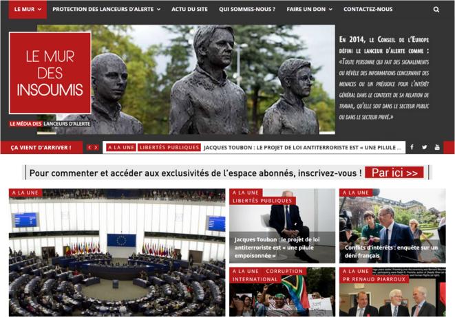 Page d'accueil du Site internet - Le Mur des Insoumis - © https://lemurdesinsoumis.fr/