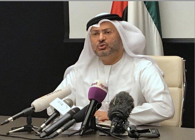 Le ministre émirati des affaires étrangères, Anwar Gargash, lors d'une conférence de presse à Dubaï, le 24 juin 2017 © Abdel Hadi Ramahi / Reuters
