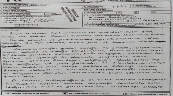Lettre de prison de Nuriye Gülmen pour l'Aïd-el-Kébir