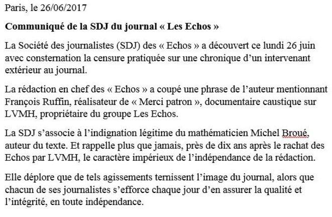 Le communiqué de la SDJ des Echos